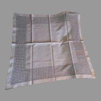 Fine Antique Victorian Linen Drawn Work Tablecloth
