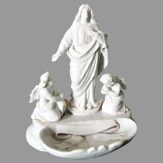 Antique c1870s Old Paris Porcelain Holy Water Font, Madonna & Angels