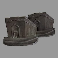 Central Bank of Albany Advertising, Miniature Building Bookends, Architectural
