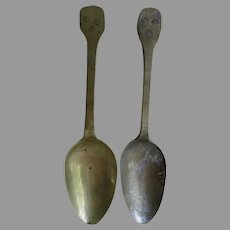 Pair Early Antique 1800s French Spoons with Hallmarks