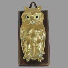 Arts & Crafts Brass Owl Paper Clip, Glass Eyes, Letter Holder
