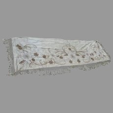 Antique French Art Nouveau Gold Boulle Embroidered Silk Tablecloth Fragment