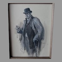Original Illustration Art, Man with Pocketwatch Listed Artist, Frederick Yohn