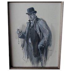 Original Illustration Art, Man with Pocketwatch Listed Artist, Frederick Yohn