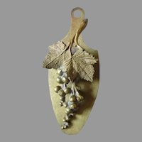 Lovely Antique Bronze Paperclip, Letter Clip with Grape Vines