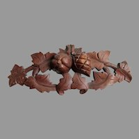 Antique Hand Carved Architectural Element with Fruit, Plaque