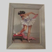 Vintage Mid Century Oil Painting of a Ballerina, Dancer, Signed Robert