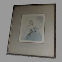 French Art Deco Dry Point Etching Lisette by Jean Hardy, Paris, France