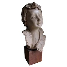 Vintage Italian Terra Cotta Sculpture of a Boy, Signed Luigi Paoletti
