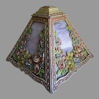 Lovely Antique Art Deco Floral Lamp Shade, Original Finish