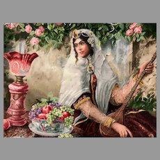 Vintage Persian, Tabriz Pictorial Carpet Hand Knotted Tableau Rug