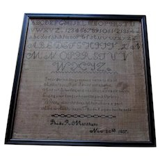 Antique Sampler, Phebe R Marshall, Nov 20th 1837, Embroidery on Linen