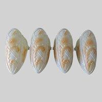 Set of 4, Art Deco Glass Slip Shades for Ceiling Light Fixture