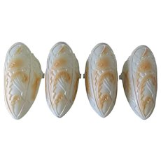 Set of 4, Art Deco Glass Slip Shades for Ceiling Light Fixture