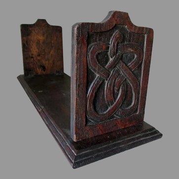 Antique Arts & Crafts, Mission Oak Bookends, Hand Carved