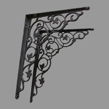 Pretty Antique Cast Iron Shelf Brackets with Delicate Leaf Motif