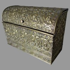 Antique Embossed Brass Art Nouveau Letter Holder, Desk Box