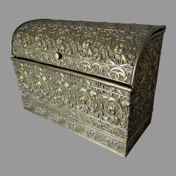 Antique Embossed Brass Art Nouveau Letter Holder, Desk Box