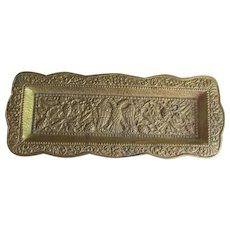 Vintage European Bronze Pen Tray with Royalty, Double Headed Eagle