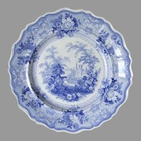 "Antique Staffordshire, Transferware Campania, Maddock Blue Plate 10 1/4"""