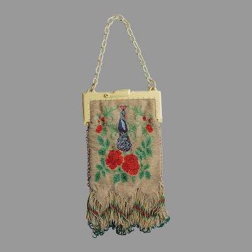 Vintage Beaded Handbag with Peacock Birds, Great Condition