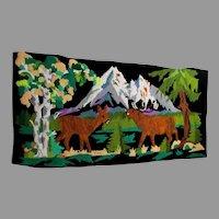 Big c1930s Folk Art Hooked Velvet Tapestry of Deer, Elk in Mountains