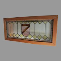 Antique Stained Glass Window with Shield Motif, Architectural