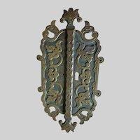 Antique c1880s Aesthetic Movement Door Escutcheon, Architectural Brass