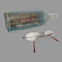Antique Folk Art Ship in a Bottle, Steamship New York, Nautical, Maritime
