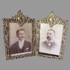 Antique Victorian Double Picture Frame, Tabletop or Vanity