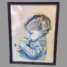 Charming c1930s Illustration of a Child with Baby Duckling