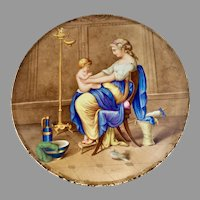 Lovely Antique c1890s European Hand Painted Plaque,  Lady with Baby