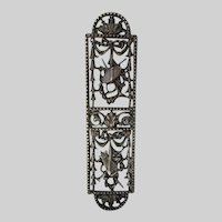 Antique Door Push Plate, Finger Plate with Musical Instruments