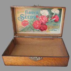 Antique Advertising Display Box, D M Ferry & Co Flower Seeds, Garden