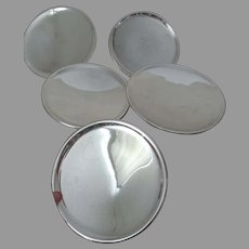 5 Original Antique Mercury Glass Reflectors for Oil Lamps, Brackets