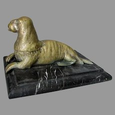 Antique Walrus Inkwell, Desk Accessory, Marine Animal