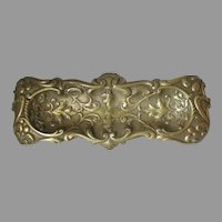 Lovely Antique Victorian Brass Pen Tray with Leaves, Desk, Office Accessory