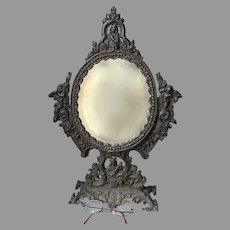 Antique Cupid, Cherub Vanity or Shaving Mirror, Picture Frame