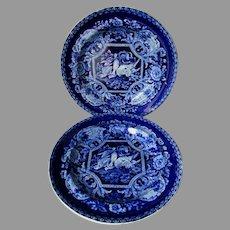 Antique c1840s Staffordshire Pearlware Transferware Plates, Dead Game