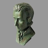 French Bronze Bust, Music Composer Wolfgang Amadeus Mozart, Signed