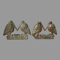 Antique Arts & Crafts Bronze Bookends, Bird Motif, Desk Accessory
