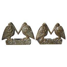 Antique Arts & Crafts Bronze Bookends, Bird Motif, Desk Accessory
