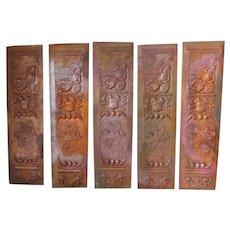 5 Antique Masonic Fraternal Plaques, Knight Armor & Maltese Cross