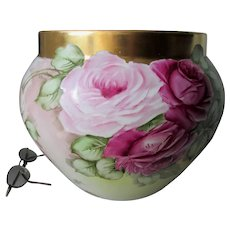 Antique Hand Painted French Limoges Jardiniere with Roses