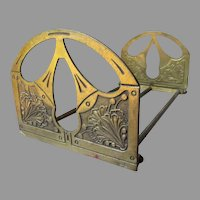 Antique Art Nouveau Expanding Bookends with Gingko Leaves
