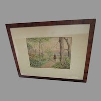 Antique Western Watercolor Painting, Man on Horse Signed