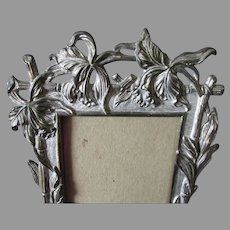 Antique c1880s Aesthetic Picture Frame with Iris Flowers & Bamboo