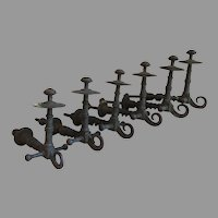 6 Matching Antique Coat, Hat Hooks, Barley Twist Motif, Architectural