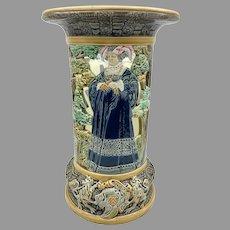 French Majolica Vase, Choisy le Roi, Renaissance Motif, Pre-Raphaelite