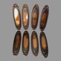 8 Antique Architectural Copper Door Push Plates, Sea Shell Motif